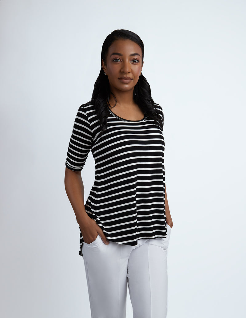 Tory Top elbow length sleeves - stripes