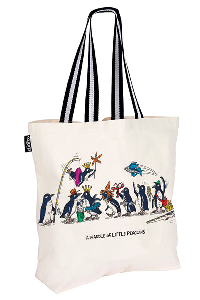 Cotton Tote Bag: A Waddle of Little Penguins