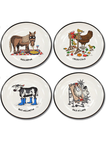 NEW Moveable Feast Collection Set of 4 Canapé Plates