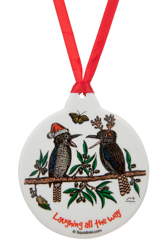 Porcelain Christmas Decoration: Laughing all the Way