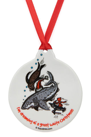 Porcelain Christmas Decoration: Have a Great white Christmas