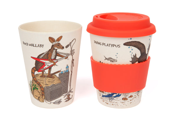 Eco-Bamboo fibre Keep Cups with silicon lid: Rock Wallaby & Diving Platypus
