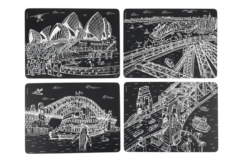 Placemat Set: Sydney Harbour Black & White Collection