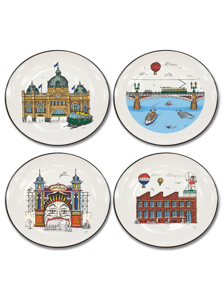 Melbourne Collection Set of 4 Canapé Plates