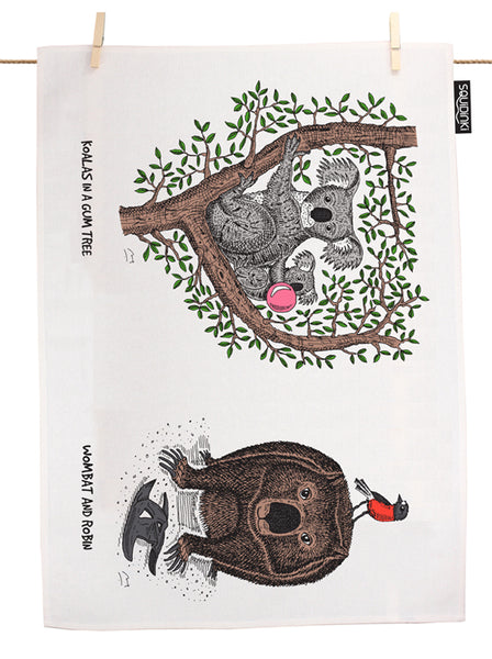Koalas in a Gum Tree, Wombat & Robin Tea Towel