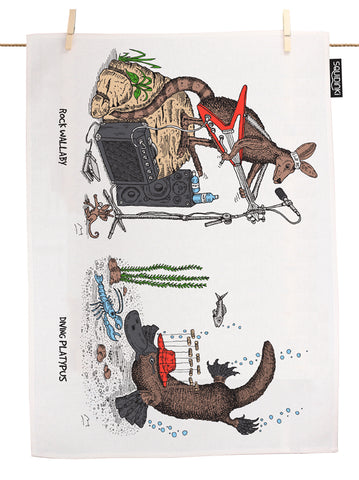 Rock Wallaby & Diving Platypus Tea Towel
