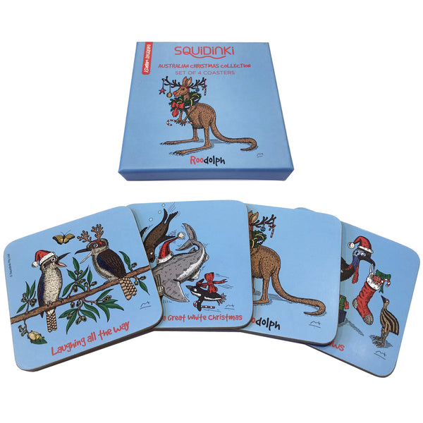 Christmas Coaster Set: Australian Animal Christmas Collection