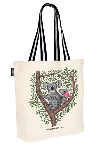 Cotton Tote Bag: Koalas in a gum tree
