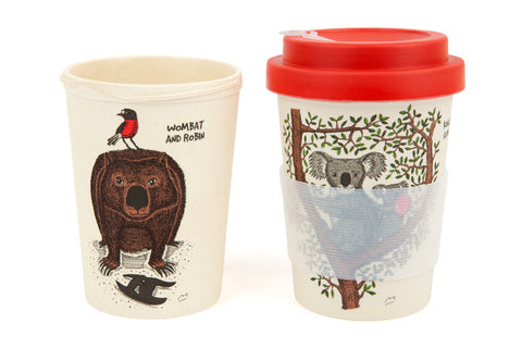 Eco-Bamboo fibre Keep Cups: Koalas in a Gum Tree and Wombat & Robin