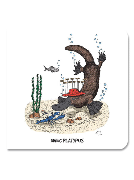 Greeting Card: Diving Platypus