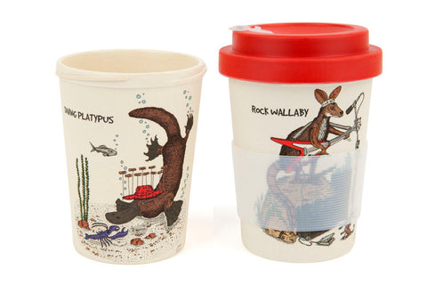 Eco-Bamboo fibre Keep Cups: Rock Wallaby & Diving Platypus
