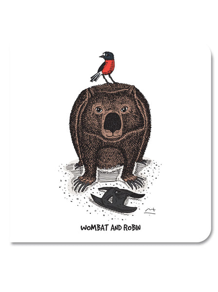 Greeting Card: Wombat & robin