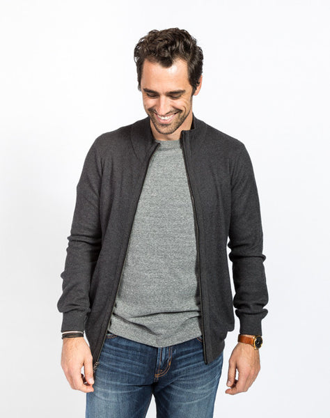 Cole Pique Full Zip Cardigan - Charcoal Full Front View - Sweater
