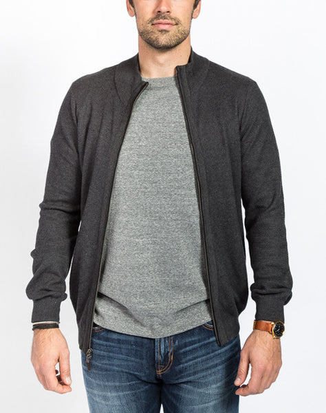Cole Pique Full Zip Cardigan - Charcoal Front View - Sweater