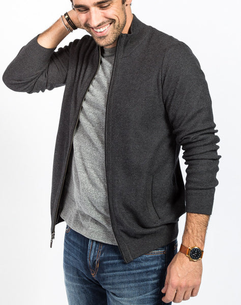 Cole Pique Full Zip Cardigan - Charcoal Side View - Sweater