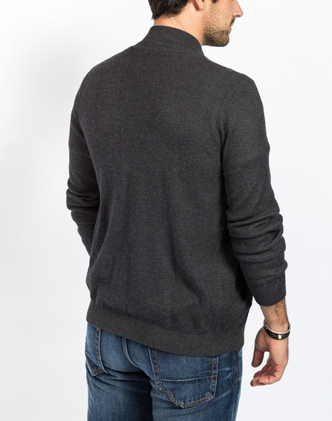Cole Pique Full Zip Cardigan - Charcoal Back View - Sweater