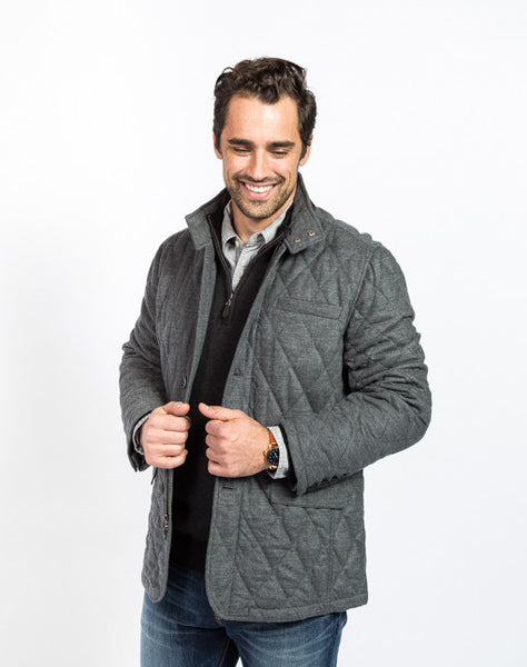 Damian Quilted Field Jacket - Charcoal - Front View
