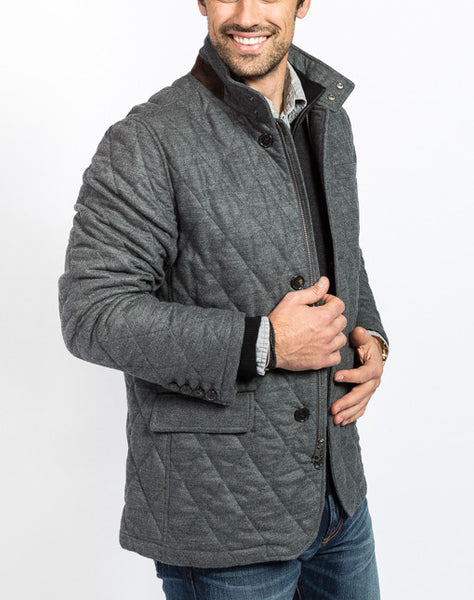 Damian Quilted Field Jacket - Charcoal - Left Side View