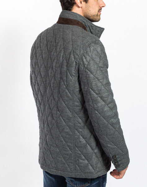 Damian Quilted Field Jacket - Charcoal - Back View