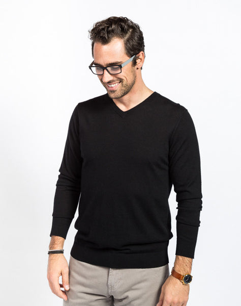 Gavin Cashmere V Neck Sweater - Black - Full Front View