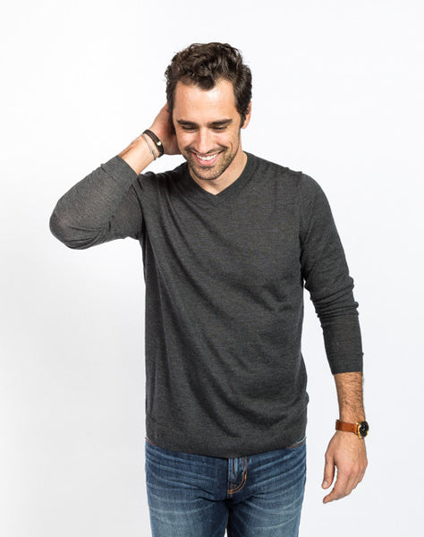 Gavin Cashmere V Neck Sweater - Charcoal - Full Front View