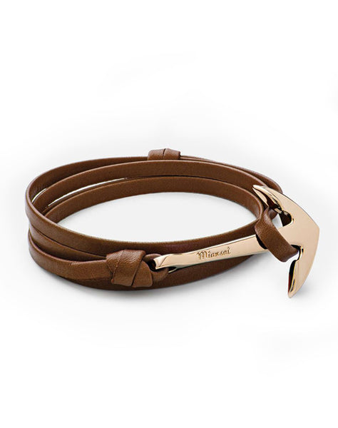 Gold Anchor Brown Leather Bracelet