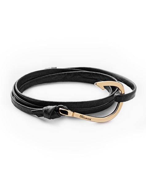 Gold Hook Black Leather Bracelet