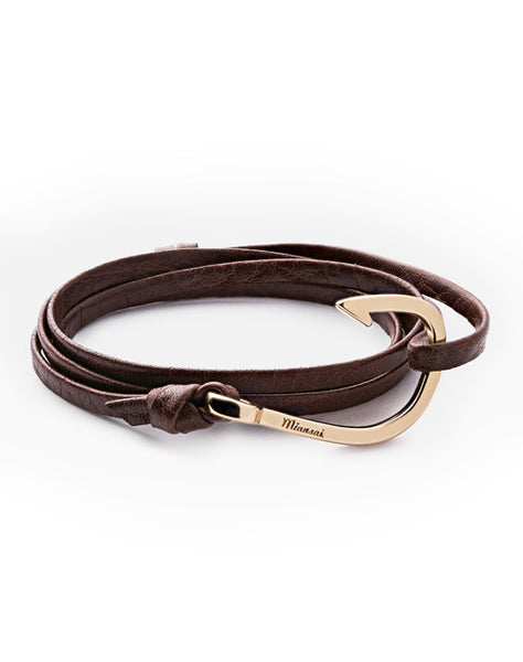 Gold Hook Brown Leather Bracelet
