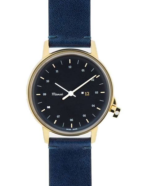 M12 Swiss Gold Watch on Navy Leather