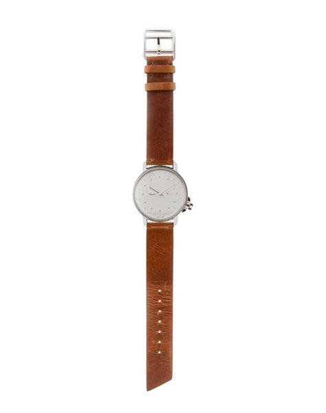 M12 Swiss Stainless Steel Watch on Brown Leather