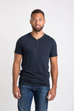 Sam V Neck Henley - Navy Heather