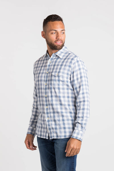 Denby Double Cloth Shirt – Heather Blue Gingham