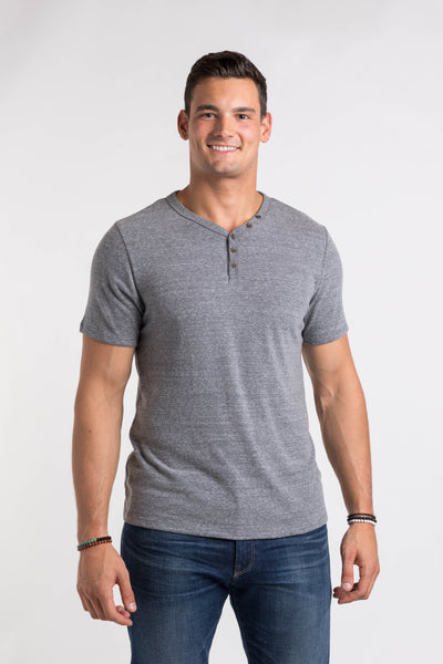 Sam V Neck Henley - Medium Heather
