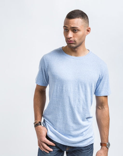 Josh Crew Neck in Arctic Blue best known for great fit and soft feel.