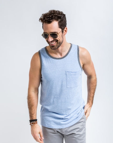 Will Bro Tank in Arctic Blue has the perfect cut for sporty or casual look and feel.