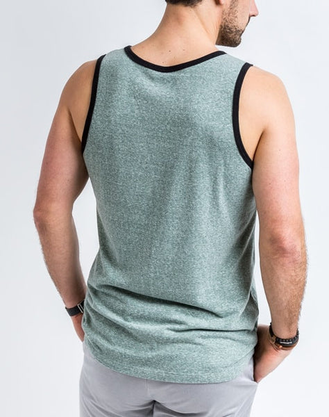 Back view of the Will Bro Tank in Arctic Blue has the perfect cut for sporty or casual look and feel.