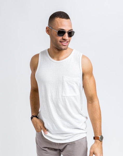 Will Bro Tank in White has the perfect cut for sporty or casual look and feel.