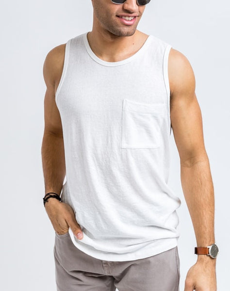 Front view of the Will Bro Tank in White has the perfect cut for sporty or casual look and feel.