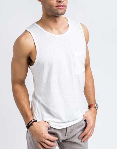 Side view of the Will Bro Tank in White has the perfect cut for sporty or casual look and feel.