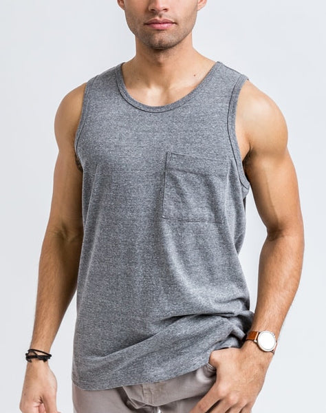 Front view of the Will Bro Tank in Medium Heather has the perfect cut for sporty or casual look and feel.