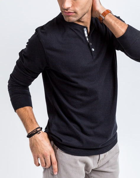 The Rob in black is a timeless long sleeve henley that is known for its quality and comfortable cotton brushed jersey.