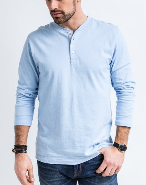 The Rob in arctic blue is a timeless long sleeve henley that is known for its quality and comfortable cotton brushed jersey.