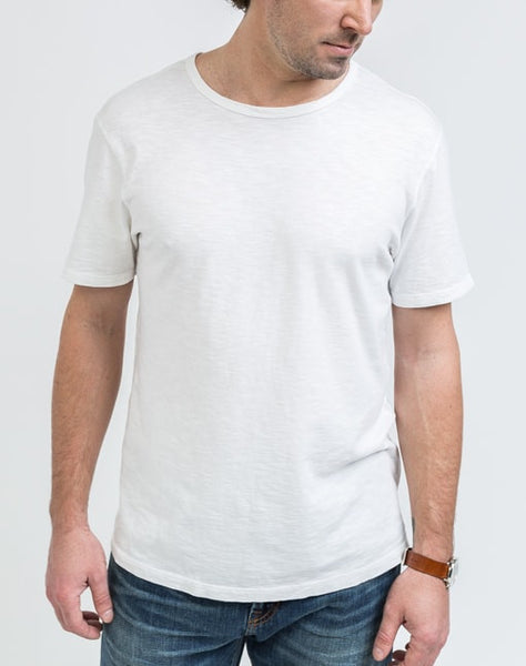 Front view of the Joe Crew Neck in White that has a soft texture and great fit.