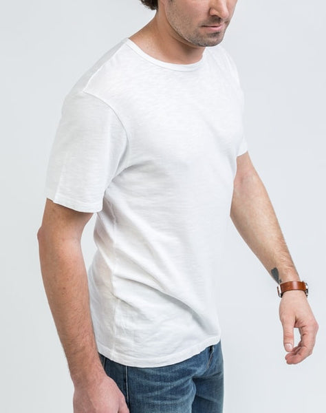 Side view of the Joe Crew Neck in White that has a soft texture and great fit.