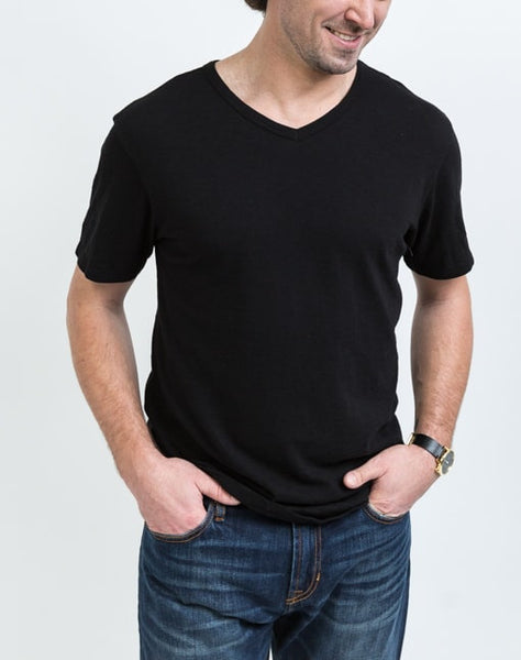 Front view of the Drew V Neck in Black which is known for its relaxed fit and essential design.