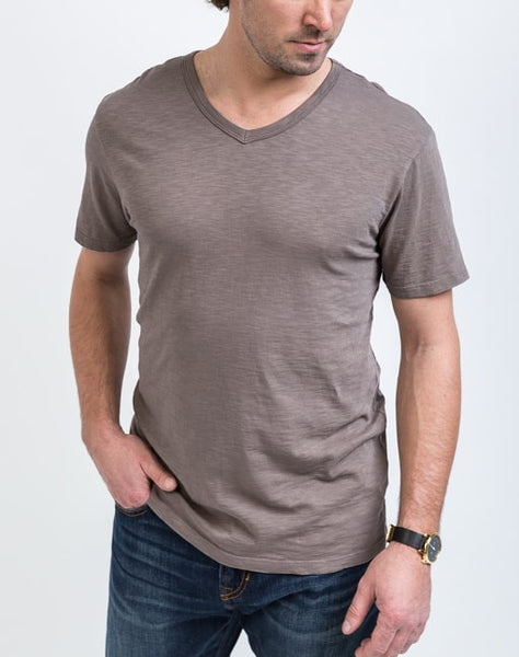 Front view of the Drew V Neck in Peat which is known for its relaxed fit and essential design.