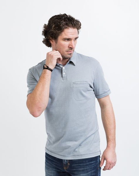 The Alex golf polo in gunmetal grey is known for its structure and good fit.