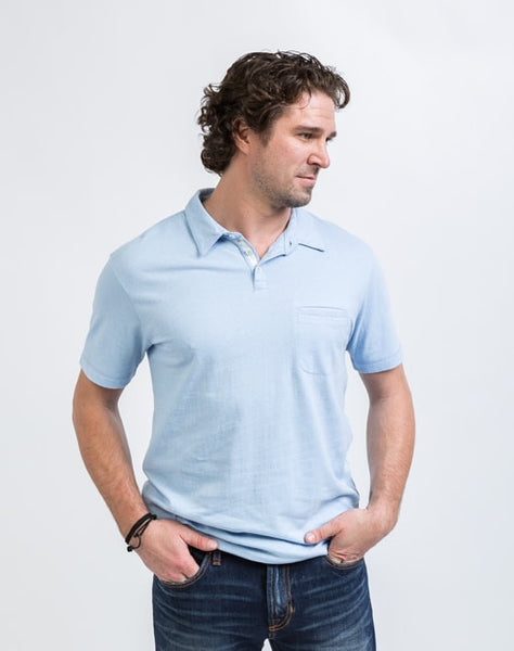 The Alex golf polo in arctic blue