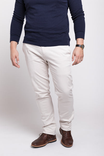 PLAIN FRONT SLIM STRETCH TWILL - STONE