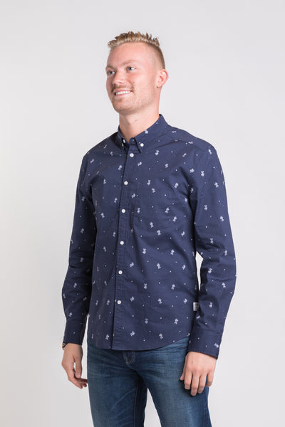 Space Cadet Long Sleeve Button Down - Navy